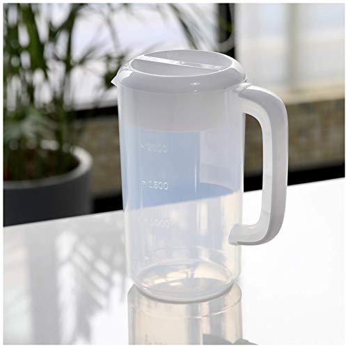 Jarras de medición de plástico de la taza de medición, jarra de plástico con tapa de líquido medida taza de mezcla de tazas de mezcla antideslizante, jarra de agua, para cocina, 2.5L / 4L / 5L, rosa,