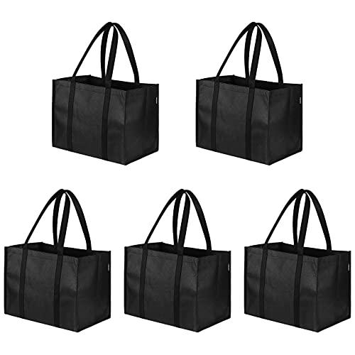 Cabilock Bolsas reutilizables para comestibles [5 unidades] bolsas de compras con asas reforzadas para más de 50 libras, extragrandes y fuertes, flotables, ecológicas, resistentes al agua