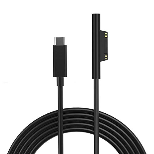 Connect to 45W Male USB-C Charging Cable Compatible with Microsoft Surface Go. Pro 7/6 / 5/4 / 3, Surface BookSurface Laptop Male USB-C Connector Black Cord 1.8Mtr