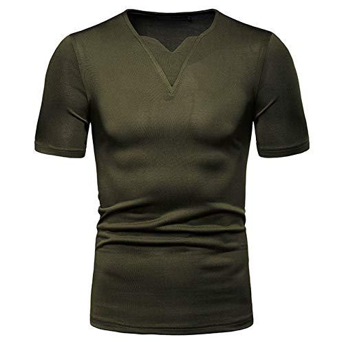 SSBZYES Herren T-Shirts Herren Kurzarm-T-Shirts Herrenmode Lässig Einfarbig V-Ausschnitt High Stretch Loose Europäische Größe Kurzarm-T-Shirt