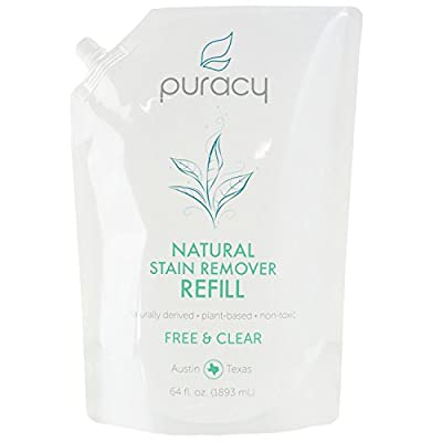 Puracy Natural Laundry Stain Remover Refill, Enzyme-Based Odor Cleaner, Unscented, 64 Ounce