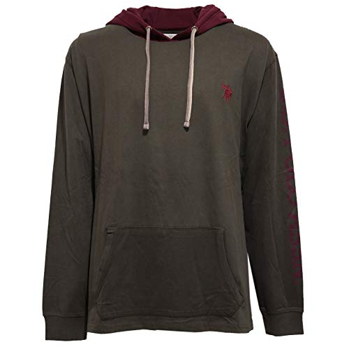 U.S. POLO ASSN. 8622AA Felpa Uomo Green Cotton Hoodie Sweatshirt Man [4XL]