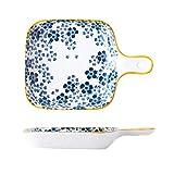 WOHCO 9in pequeñas bandejas de Horno de cerámica, Porcelana Japonesa Pintado a Mano de lasaña sartenes - Escoja Cuadrados Ensalada de Placas - Bicarbonato de Comidas de Doble propósito Platos