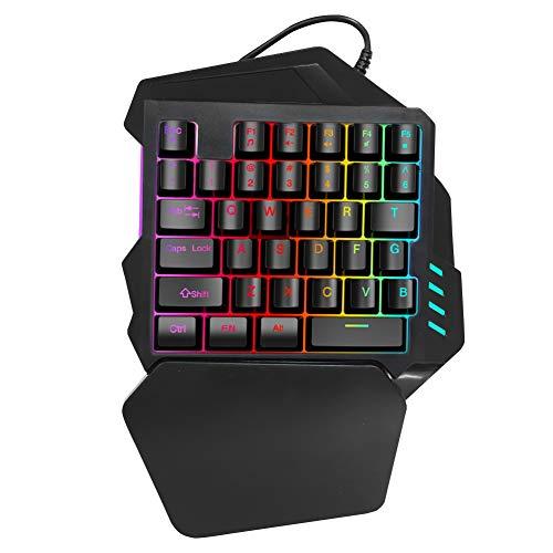 Diyeeni One Handed Gaming Keyboard, Einhand Mechanische Gaming Tastatur, Verdrahtete Gamepad mit FN Multimedia Function Key, RGB Beleuchtung, Ergonomische Gamer Tastatur - 35 Tasten