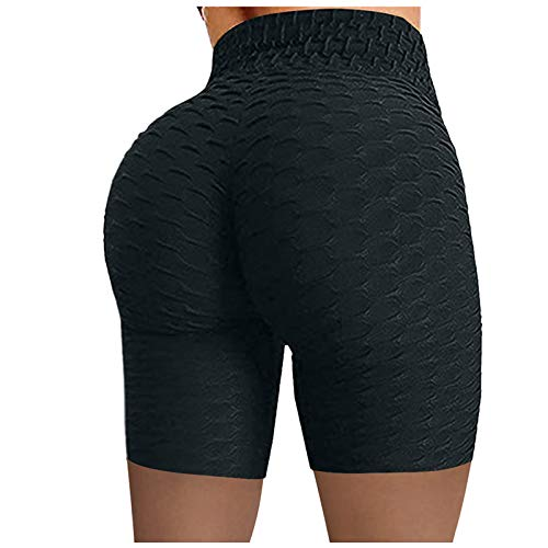AIchenYW Yoga Pants for Women High Waist Tummy Control Solid Bubble Hip Lift Yoga Short/Pants Stretchy Butt Leggings