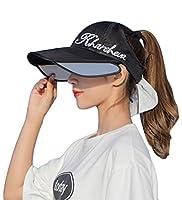 [ZHONGJUE]サンバイザー 帽子 サンハット 日よけ帽子 キャップ UVカット つば広 ブリム伸縮可能 紫外線対策 軽量 通気 吸汗 速乾 ポニーテール穴付き 運動 アウトドア 農作業 旅行用 かわいい 野球帽 春 夏 レディース(4黒)