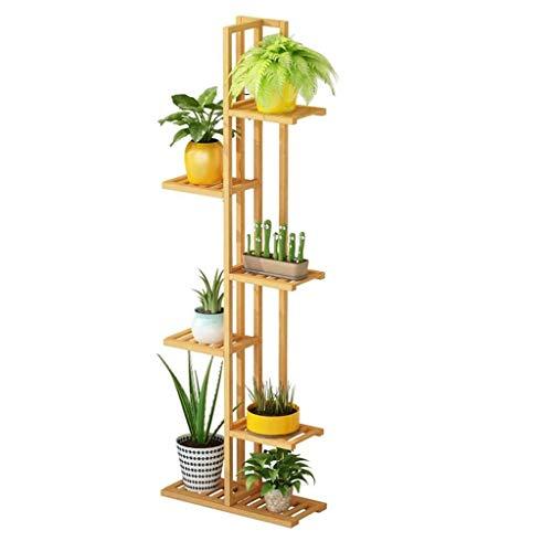 GLVV soporte de flores balcón antiséptico sala de estar interior estante de carne estante de flores de hierro soporte de planta colgante Estante de maceta de madera maciza de orquídeas de múltiples ca