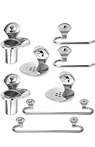 Capital® Stainless Steel Combo of 8 Pieces Bathroom Accessories Set Towel bar/nepking Ring/soap Dish/Toothbrush Holder Silver (Stainless Steel)