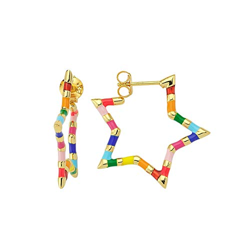Pendientes Estrella Arco Iris 925