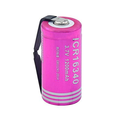 josiedf Batería De Iones De Litio De 3.7v 1200mah 16340, Recargable para Banco De Energía Linterna Mini Ventilador Control Remoto 1pieces