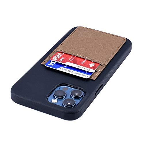 Dockem Bio - Funda Tipo Cartera para iPhone 12 Pro MAX: Materiales Sensibles, Montaje Magnético y 2 Ranuras para Tarjetas de Crédito (6.7' M2B, Negro y Bronceado)