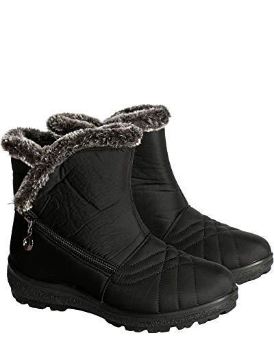 Anna Almeida Womens Double Zipper Short Snow Boot,Black,8.5