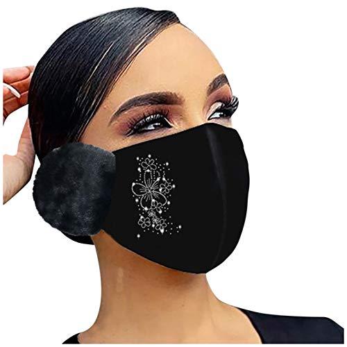 Higlles Glänzend Strass Mund Nasenschutz, Damen Waschbar Mundschutz mit Motiv Baumwolle Glitzer Wiederverwendbar Atmungsaktiv Mund und Nasenschutz Stoff Warme Ohrenschützer