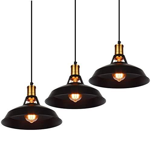 ASCELINA Luminaire Suspension Vintage, Rosace de Plafond Suspendu Industriel Métal Abat-jour, Support de Lampe Tressé Flex E27 pour Restaurant Cuisine (Noir-3 Pièces)