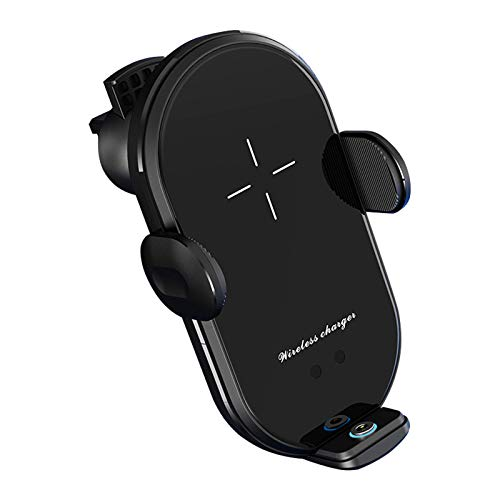ALLWIN Cargador De Coche Inalámbrico, Soporte De Ventilación Rápida Qi De 10W, Adsorción Automática para iPhone 12 11 XS XR X 8 Plus para Todos Los Teléfonos Inteligentes Compatibles,Negro
