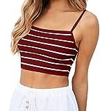 LEvifun Tops Sexy Teenager Mädchen Ärmelloses Lässiges Verstellbares Schultergurt Trägerband mit Streifen und Rückenfreiem Camis Tank Top Oberteil