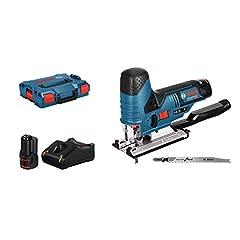 Bosch Professional 12V System Batteri Jigsaw GST 12V-70 (skärdjup i trä: 70 mm, inkl. 2x sågblad, glidsko, spånrivskydd, 2x 3.0Ah batterier och laddare, i L-Boxx)