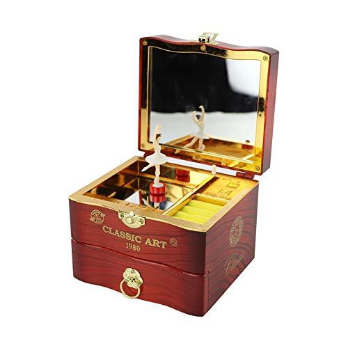 Joyero musical de estilo vintage, con caja de música giratoria, regalo con bailarina y cajón para guardar joyas para el día de San Valentín, regalo para niñas, marrón, Tamaño libre