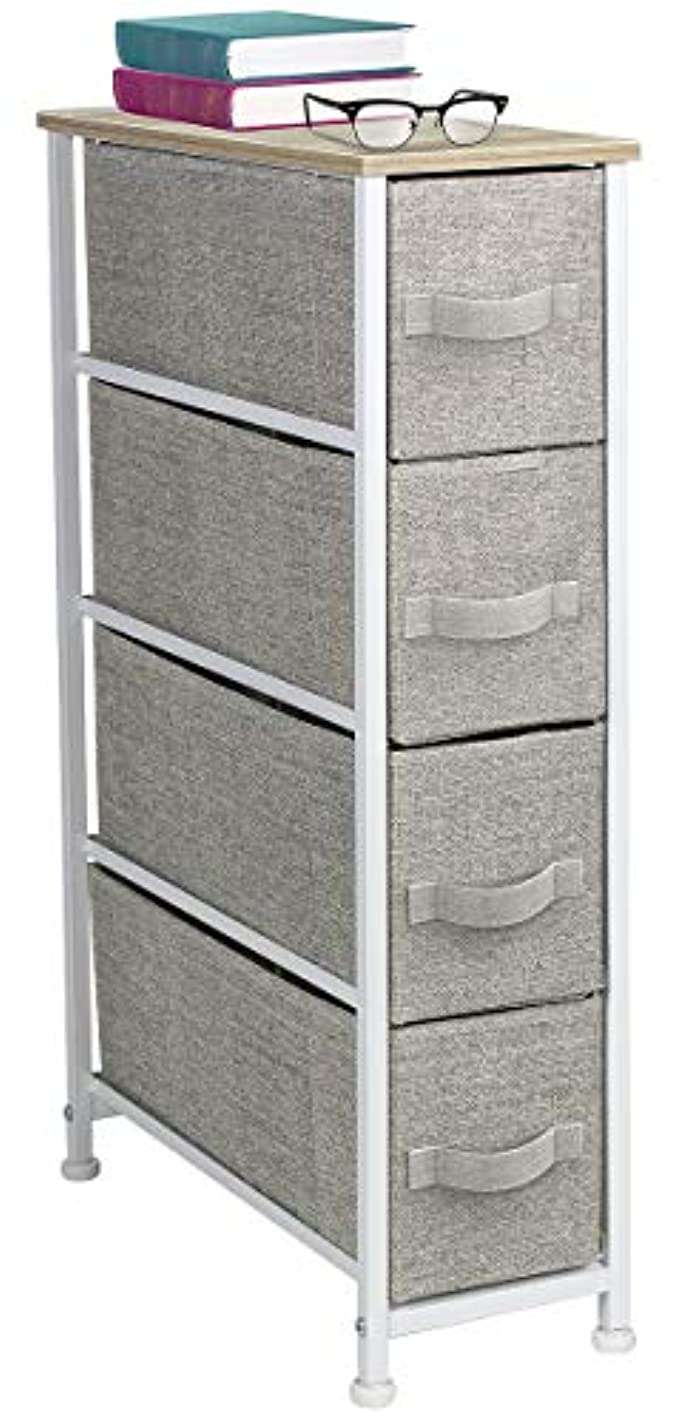 Sorbus Narrow Dresser Tower with 4 Drawers - Vertical Storage for Bedroom, Bathroom, Laundry, Closets, and More, Steel Frame, Wood Top, Easy Pull Fabric Bins (Beige)