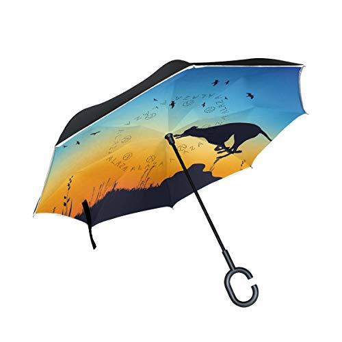 mit C-förmigen Griff für Auto-Regenschirm Vintage Winddichte Sonnenschirm Natur Whippet Jagd Kaninchen Outdoor-Regenschirm
