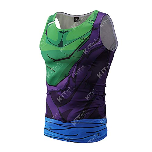 Anime Dragon Ball Costume Battle Damaged Piccolo Workout Compression Tank Tops for Men