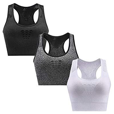 CLUCI Sports Bras for Women High Impact Support Workout Racerback Seamless Gym Activewear Running Padded Fitness Yoga 3 Pack M