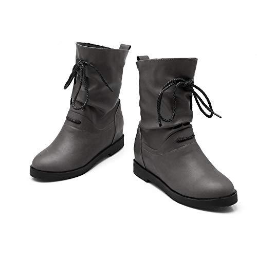 Vovotrade dames lange schacht laarzen winterschoenen met veters retro sneeuwlaarzen geel, rood, zwart, grijs EU 36-41