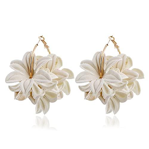 QIN Pendientes creativos Simples de Moda para Mujeres con diseño de Flores de Tela Exquisito aro Femenino