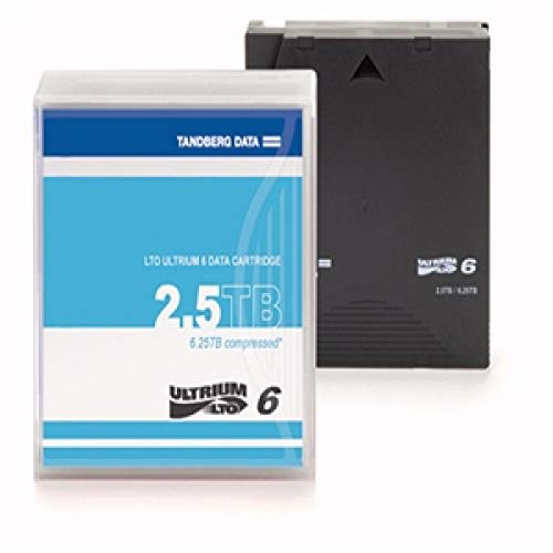 TANDBERG LTO-6 Data Cartridges, 2.5/6.25TB, un-labeled with case (20-pack, contains 20pcs)