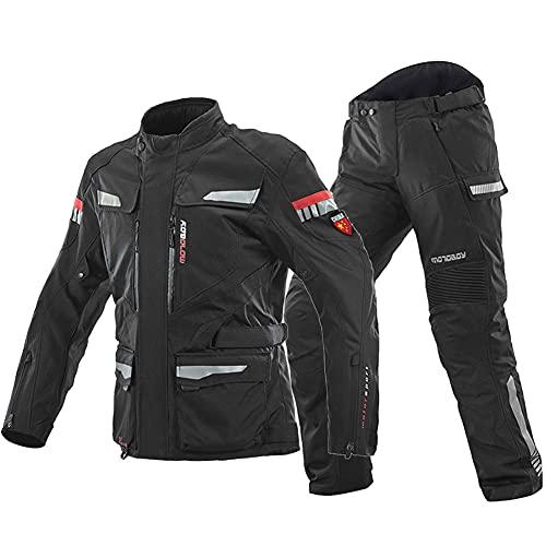 LITI Herren Motorradkombi 2-teiliger Jacke + Hose 600D Neil Polyestergewebe Atmungsaktiver Komfort Abnehmbares Warmes Baumwollfutter, Für Alle Wetter