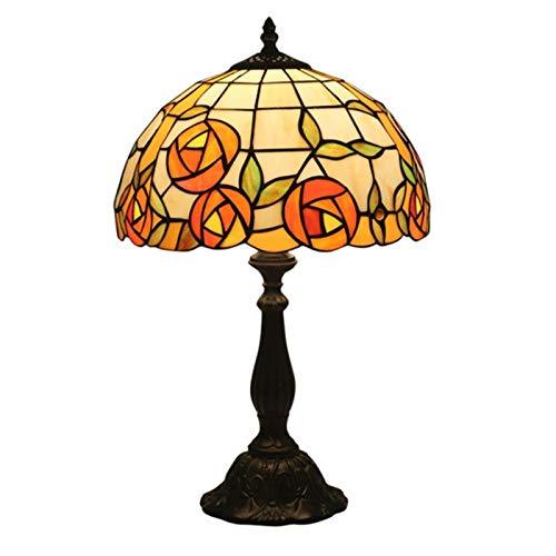 WELSUN Tiffany Lámpara de mesa de 50 cm de alto, diseño vintage de flores de jardín de vidrio de efecto tradicional, luz nocturna cómoda en la cama
