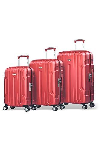 Eminent Set di valigie X-tec Set 3 pezzi valigie rigide & leggere Superficie anti-graffio 4 Ruote doppie Lucchetto TSA Rosso
