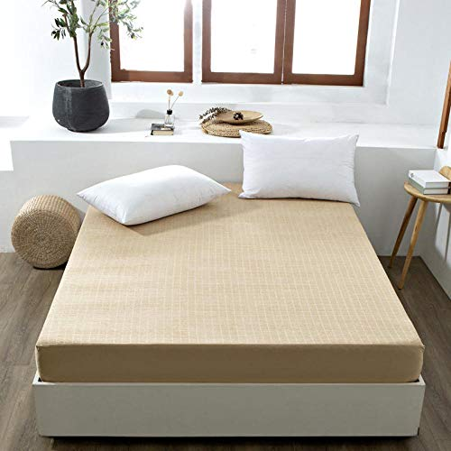 Deep Fitted Bed Sheets,100% Cotton Terry Cloth Girl Fitted Sheets, Waterproof Padded Children'S Apartment Mattress Protector-Brown_200*220+30cm
