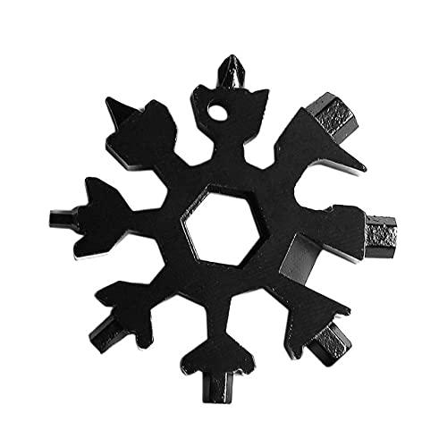 Llavero Alicates Destornillado 18 en 1 Llave de tornillo universal Campamento de copo de nieve Anillo llavero llavero al aire libre hexágono llave herramienta de bolsillo herramientas de sacacorchos p