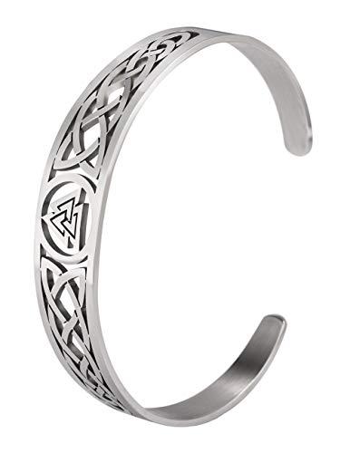 VASSAGO Pulsera de nudo celta irlandés con símbolo de Odín vikingo, brazalete de acero inoxidable con amuleto vintage, joyería de regalo para hombres, mujeres, adolescentes