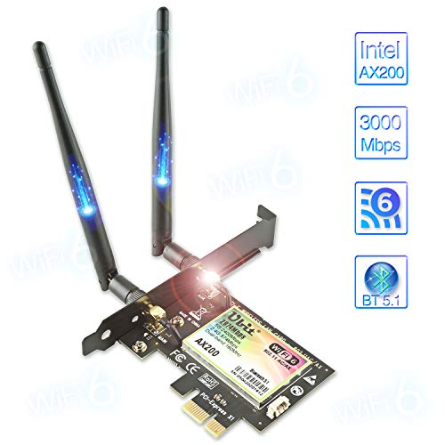 WiFi 6 AX200 PCIe WLAN Karte | Max 3000Mbit/s mit Bluetooth 5 | 802.11AX Dual Band Wireless Adapter mit MU-MIMO,OFDMA,Ultra-Low Latency | Unterstützt nur Windows 10, 64bit