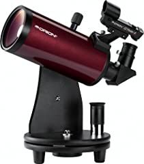 This grab-and-go TableTop Maksutov-Cassegrain telescope provides powerful views of the Moon and bright planets such as Jupiter, Saturn, and Mars Weighing just 6.5 lbs. assembled, this compact telescope and base can be taken just about anywhere to pro...