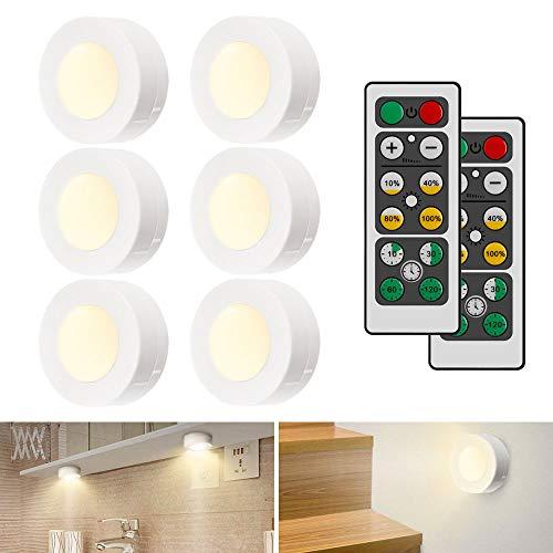 iKALULA Luci Armadio LED, 6 Pezzi Lampada Armadio LED Luce LED Armadio con 2 Telecomando e Sensore di Touch Luci Notturna dimmerabili Lampada da Parete per Vetrine, Scale, Cucina, Garage (Bianco)
