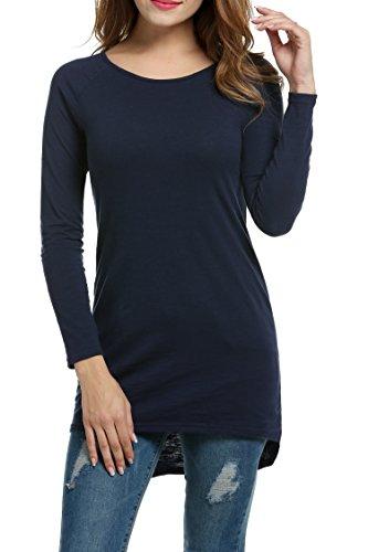 Meaneor Damen Langarm Shirt Basics Shirt Longshirt Tunika Bluse T-Shirt Baumwolle Oberteil Asymmetrisch, Navy Blau, EU 38(Herstellergröße: M)