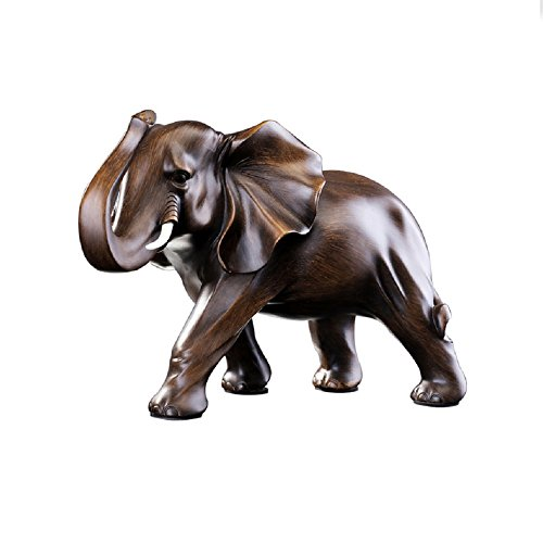 """Rosewood Color Elephant Statue 11.5"""" Office Home Decor Sculpture Wealth Lucky Figurine (type1)"""