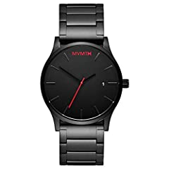 MVMT Classic is the quintessential minimalist timepiece; the case of this watch is 45MM in diameter, 10MM thick; precise movement via battery-powered 3-hand Miyota Quartz with date Strap is black and constructed from stainless steel; the strap is als...