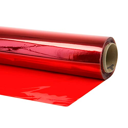 Cellophane Wrap (Red, 40' x 100') Red Mylar Sheet Cellophane Roll Great Wrapping Paper for Craft Basket