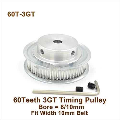 Jjzhb PYunLi-Polea de distribución, 60 Dientes 3GT Timing Polea 60T, Orificio 6.35/8 / 10mm, FIT W = 10 mm 3GT Cinturón síncrono, 60TEHETH GT3 Polea 3D Impresora, Transmisión Suave