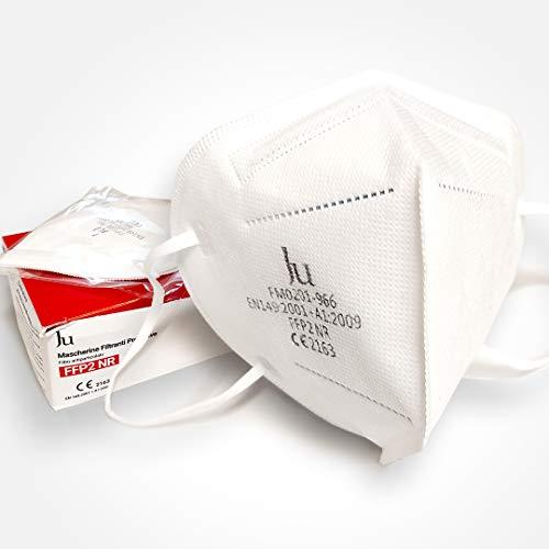 Máscara FFP2 NR - Máscaras protectoras filtrantes - Máscara de alta protección con certificación CE - Paquete de 10 piezas - BLANCO - JU