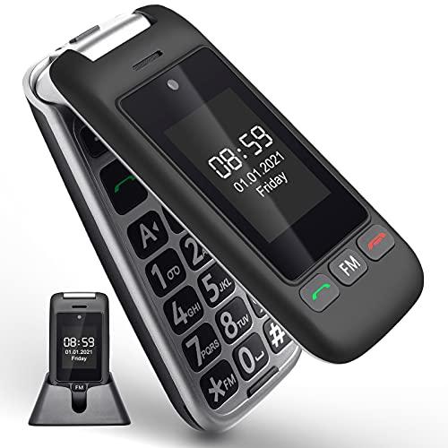 Artfone Teléfono móvil plegable para personas mayores, sin contrato, Dual SIM GSM, teclas grandes, para personas mayores con estación de carga de sobremesa, color negro