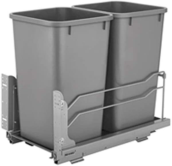 Rev A Shelf 50 Quart Pull Out Sliding Double Waste Trash Container Bin Silver
