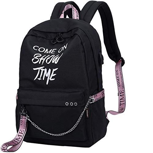 HASAGEI Rucksack Mädchen Schulranzen Schulrucksack Geometrisches Muster Schultaschen für Teenager Jungen (Schwarz)