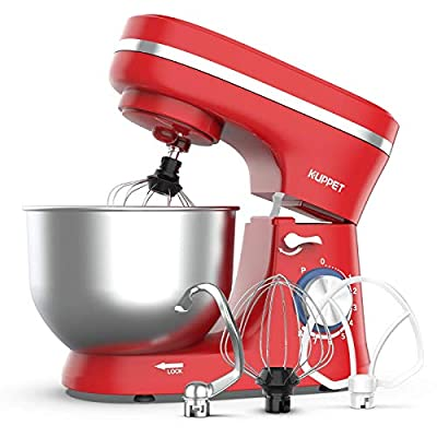 KUPPET Stand Mixer, 8-Speed Tilt-Head Electric Food Stand Mixer with Dough Hook, Wire Whip & Beater, Pouring Shield, 4.7QT Stainless Steel Bowl (Red) from