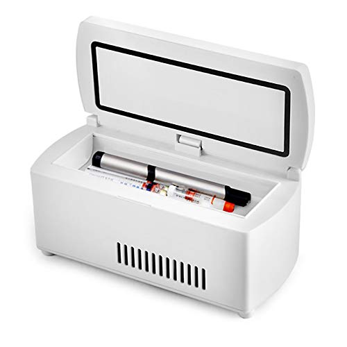 Risingmed Tragbarer Medizin-Kühlschrank und Insulin-Kühler für Auto, Reise, Zuhause – Mini Drogen konstante Temperatur Kühlschrank Drogenreefer 2–8 °C, kleine Reisebox für Medikamente, Weiß