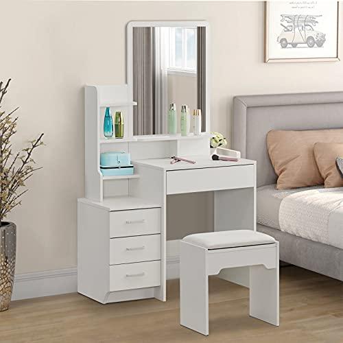 CLIPOP Juego de tocador de color blanco, escritorio de maquillaje con espejo, estantes de almacenamiento y 4 cajones de almacenamiento, muebles de tocador de dormitorio para mujer (87 x 40 x 144 cm)